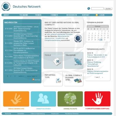Screenshot von der Webseite Global Compact - UNited Nations