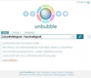 Screenshop der Unbubble Suchmaschine