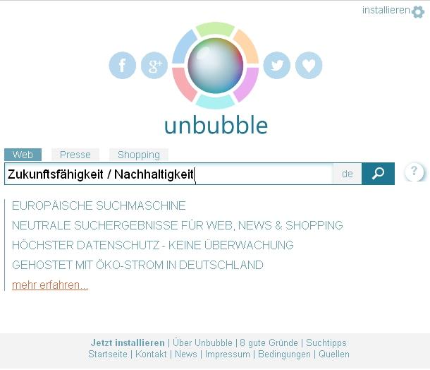 Screenshot der Unbubble Suchmaschine